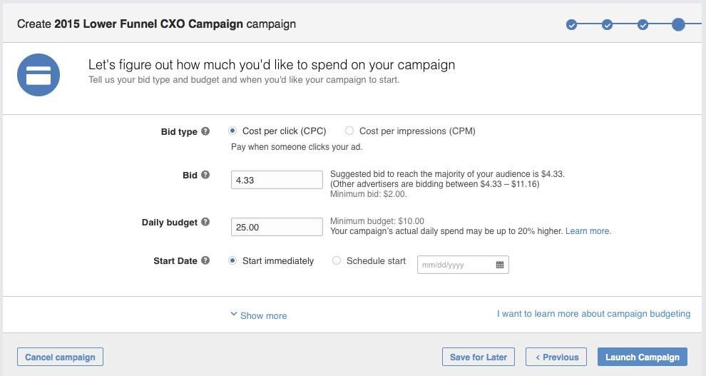 Budget publicité LinkedIn